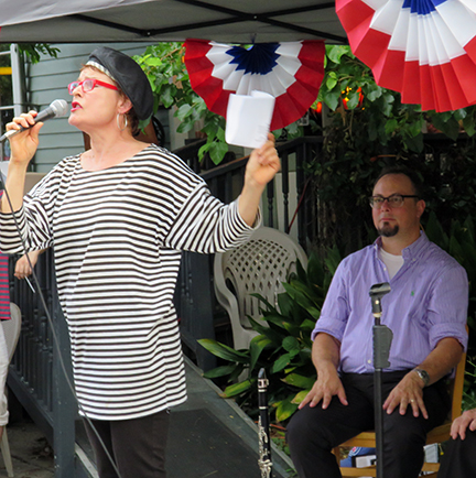 """Cynthia Scott singing """"La Marseillaise"""" (the French National Anthem) at Bastille Day in Faubourg St. John... in french of course!"""