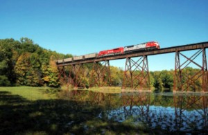 Shuffle Creek Trestle is 982 feet long and stands 80 feet over the swampy shallows of Lake Lemon.  Photo by Chris Thompson