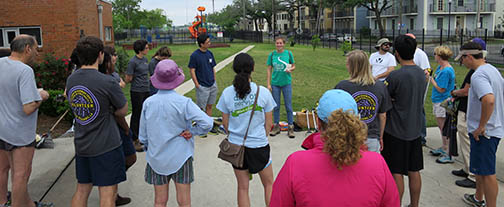 Friends of Lafitte Corridor,  ladies from the LSU School of Public Health and the Trash Mob cleaned the Lafitte Greenway on April 11, 2015.