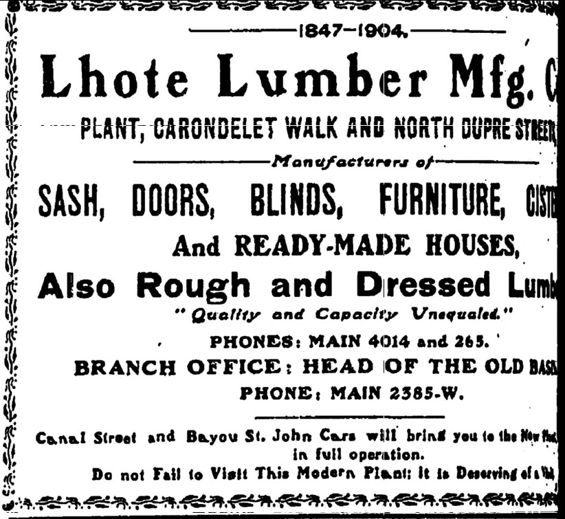 Advertisement for Lhote Lumber Company - Sept 1, 1904.  Click on the ad for a larger view.