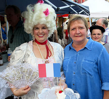 Marie Antoinette and New Orleans City Councilmember Susan Guidry at the Bastille Day Celebration in Faubourg St. John.