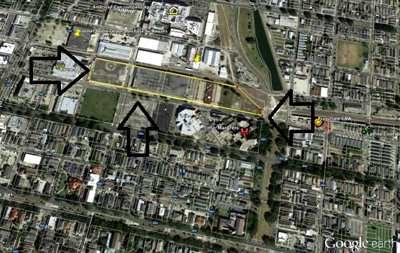 The purchased land appears to run from Bayou St. John at St. Margaret's facility to behind the Rouse's on Carrollton.