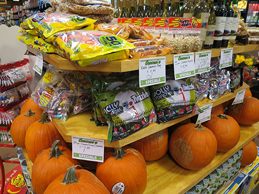 John, the manager at Canseco's said, right now, they have the largest supply of Halloween candy they've ever had.
