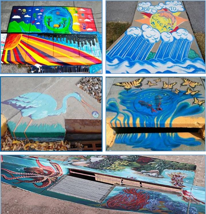 Here are some examples of public art on storm drains in other cities.