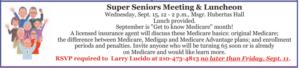 Super Seniors Meeting & Luncheon @ Hubertus Hall