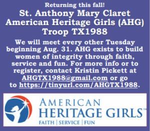 American Heritage Girls Meeting @ Building B (RE building)