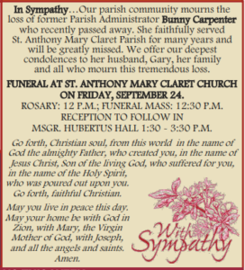 Rosary, Funeral Mass & Reception for Bunny Carpenter @ Details below