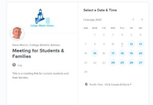 screenshot of calendly appointment page