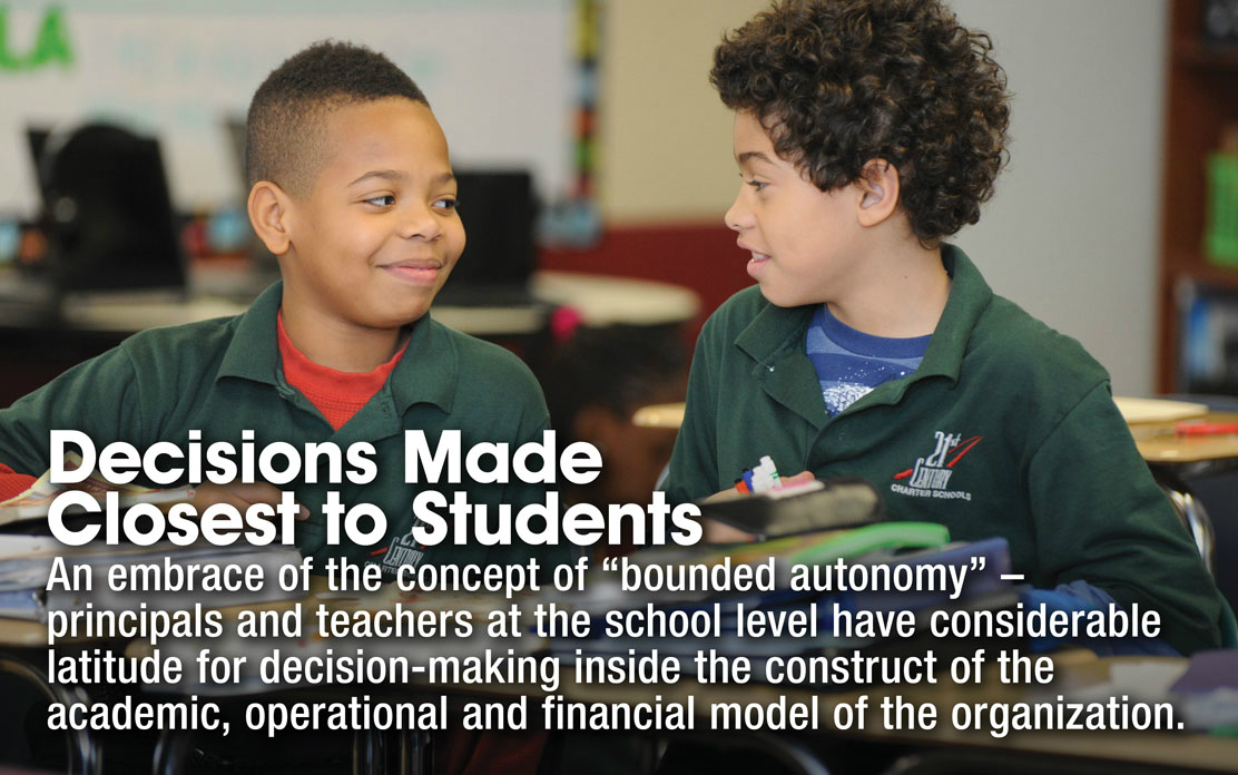 """Decisions Made Closest to Students - An embrace of the concept of """"bounded autonomy"""" - principals and teachers at the school level have considerable latitude for decision-making inside the construct of the academic, operational and financial model of the organization."""