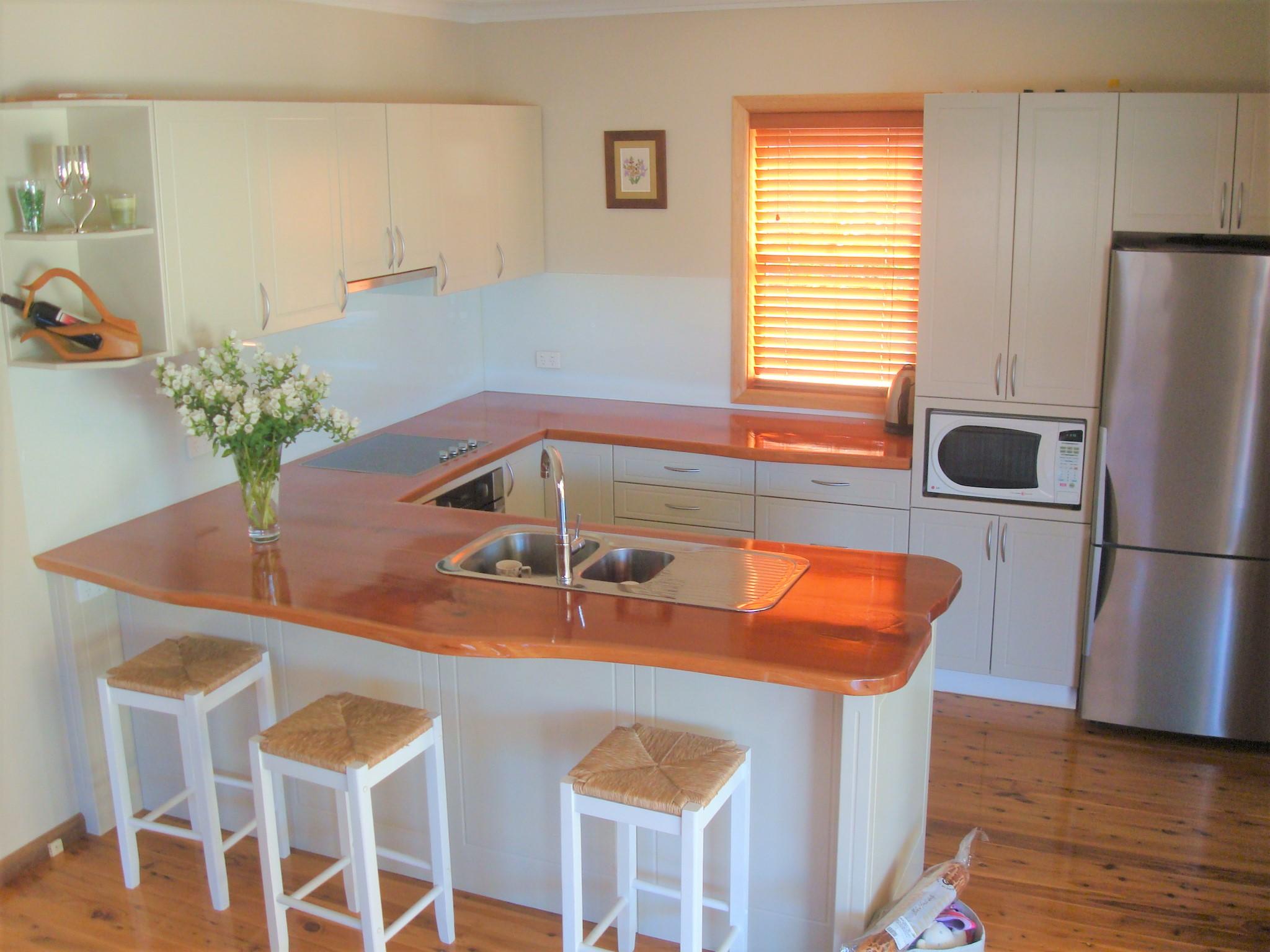 Custom Kitchen timber slab bench