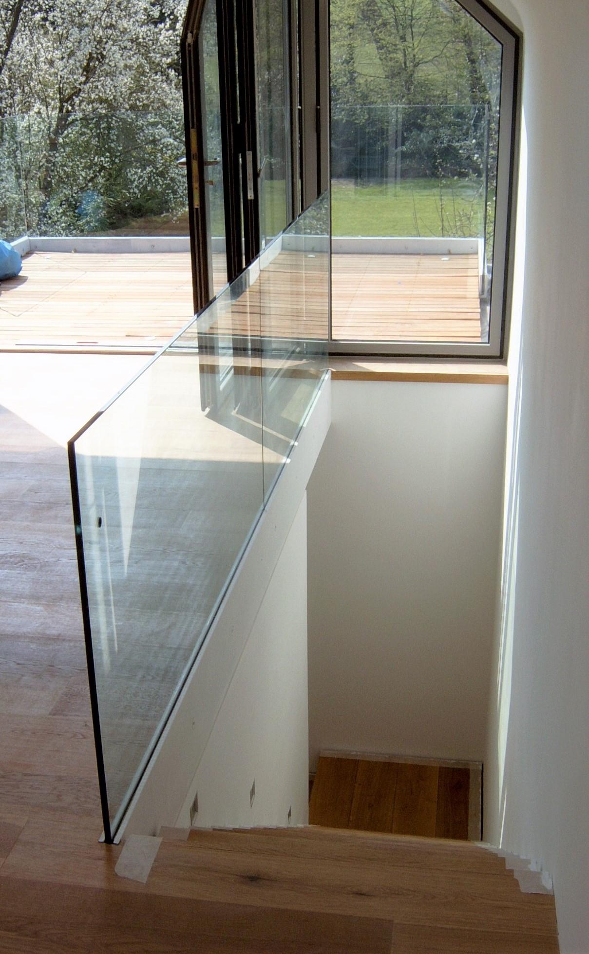 Attic conversion, frameless glass balustrade