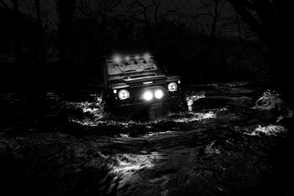 Black and White shot of Jeep in Deep Water