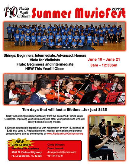 Florida Youth Orchestra Summer MusicFest 2019 flyer
