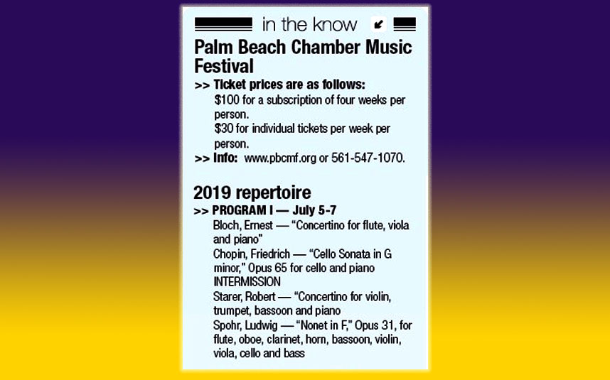 Palm Beach Chamber Music Festival Repertoire 2019