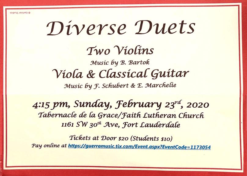 Diverse Duets classics in Ft. Laud. 02.23