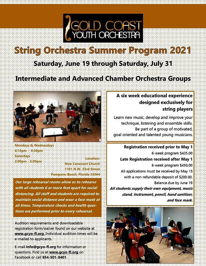 Gulf Coast Youth String Orchestra Summer Program Registration Info 2021