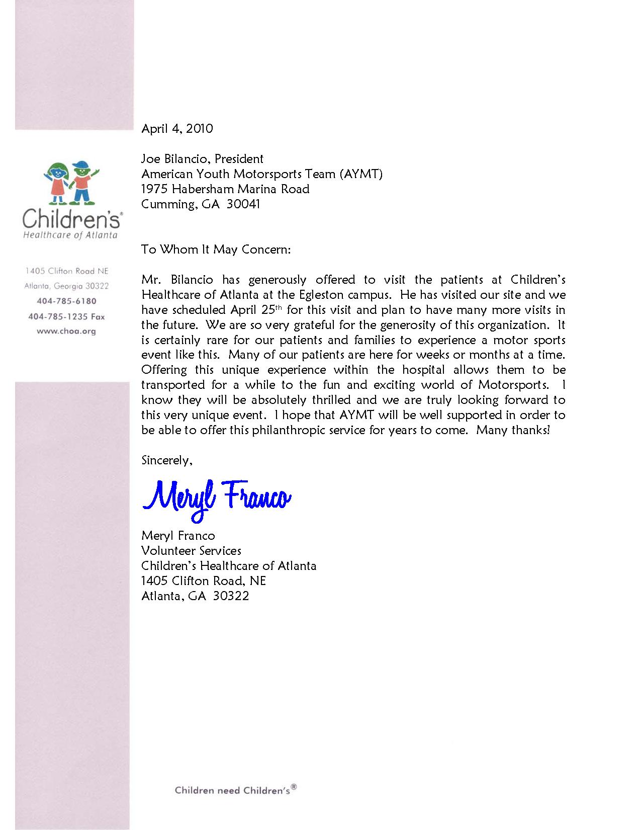 CHOA-Egleston-Emory Letter