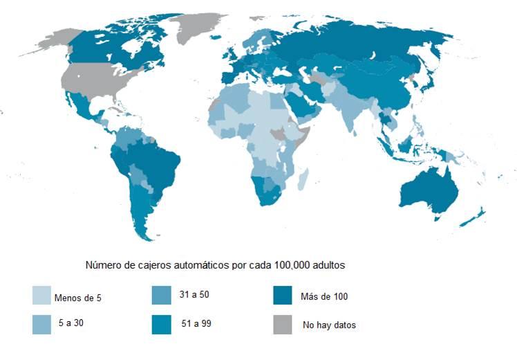 Número de cajeros automáticos por cada 100,000 adultos