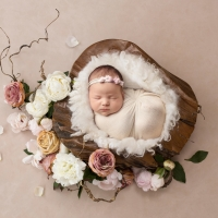 Newborn photography -  girl in wood bowl with flowers
