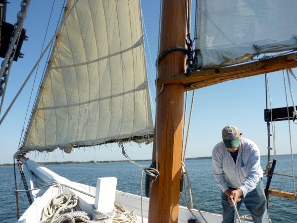 HM Krentz- putting up the sails
