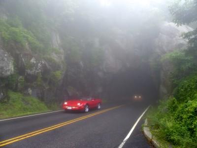 Foggy Tunnel with Hot Car