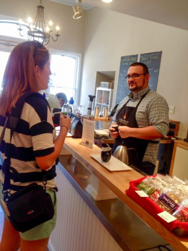 Chatting at Lexington Coffee Roasters