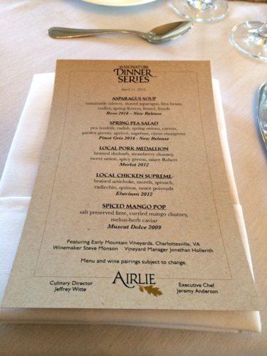 Airlie- dinner series- menu close up