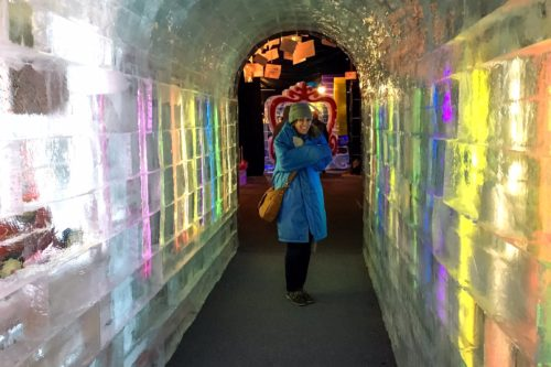 Holidays at the National Harbor- me inside Ice tunnel