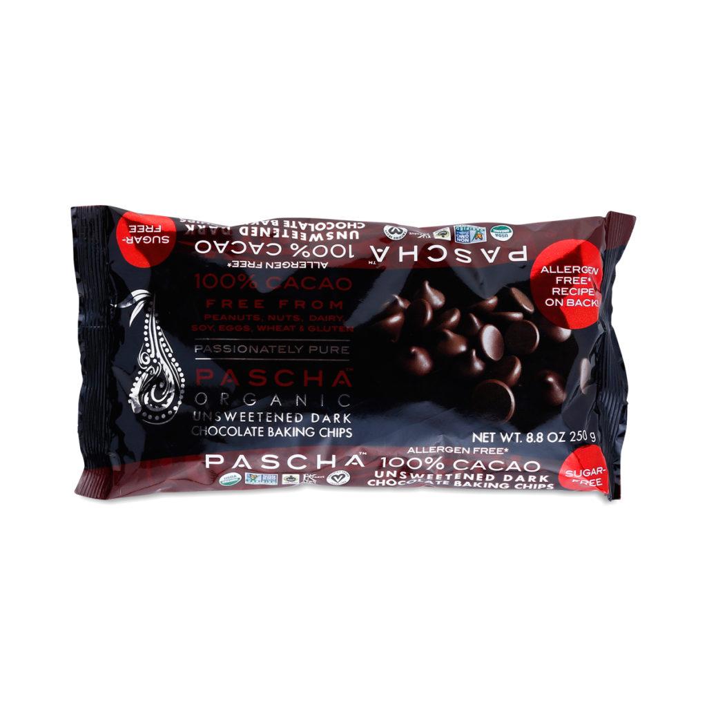 Pascha Organic 100% Cacao Unsweetened Dark Chocolate Chips