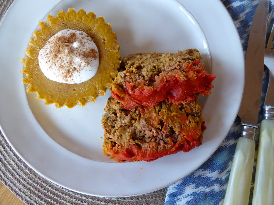 Elkloaf with Spicy Red Sauce (Tomato-Free) + Yam Puddin' with Whipped Coconut Cream