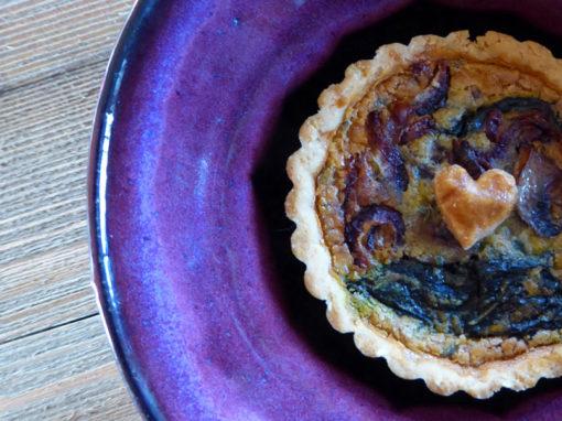 Caramelized Onion, Mushroom + Spinach Mini Quiche