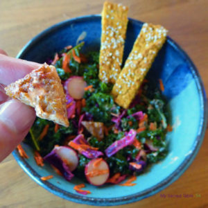 Marinated Kale + Cabbage Salad with Almond Tempeh