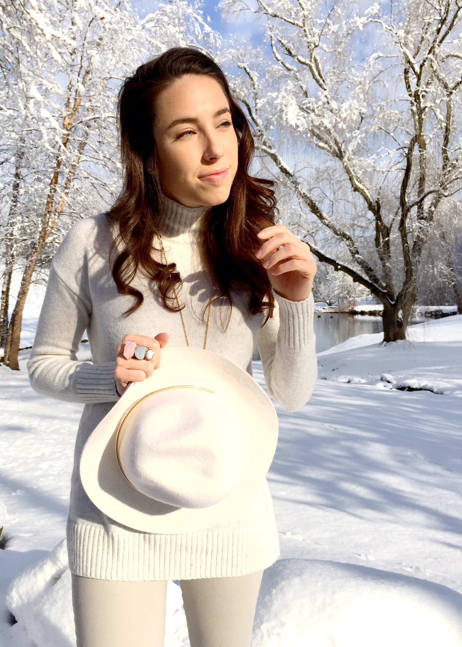 winter white and floppy hat   outfit idea