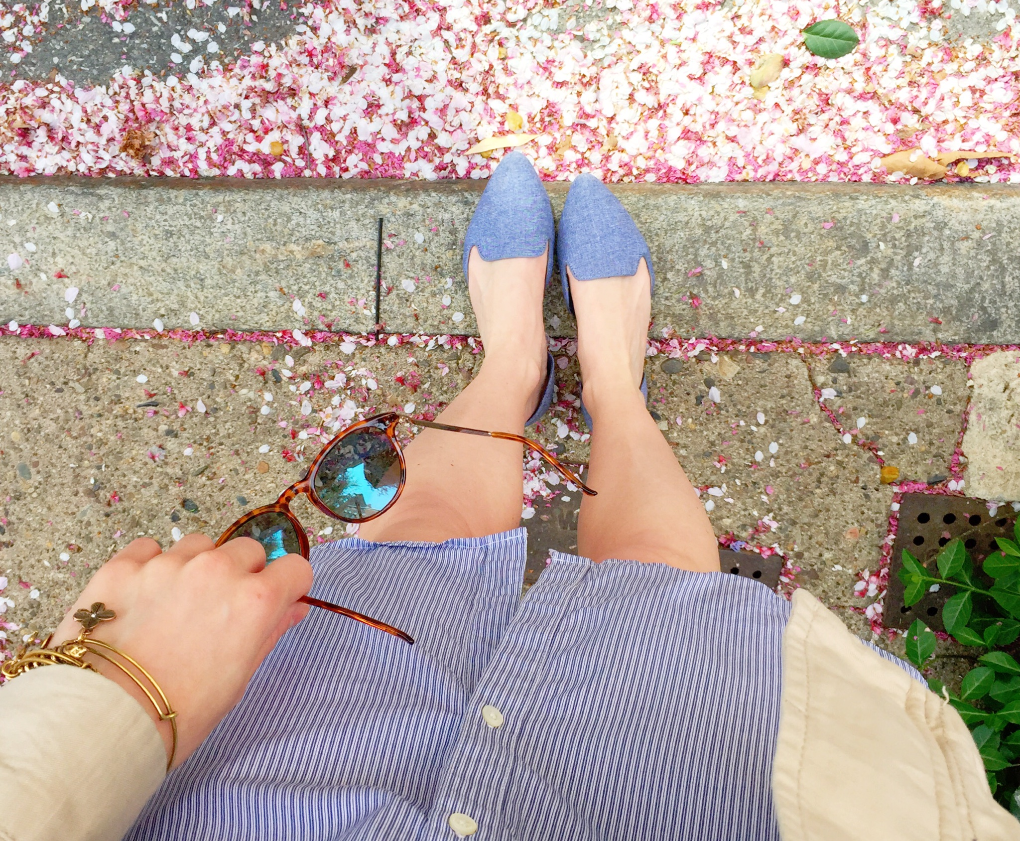 spring outfit | chambray flats & a shirt dress