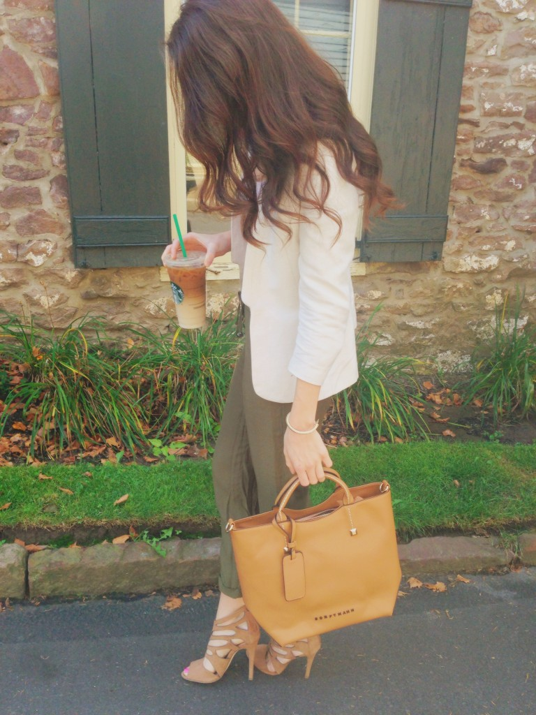 a summer to fall transitional piece | faux leather camel tote