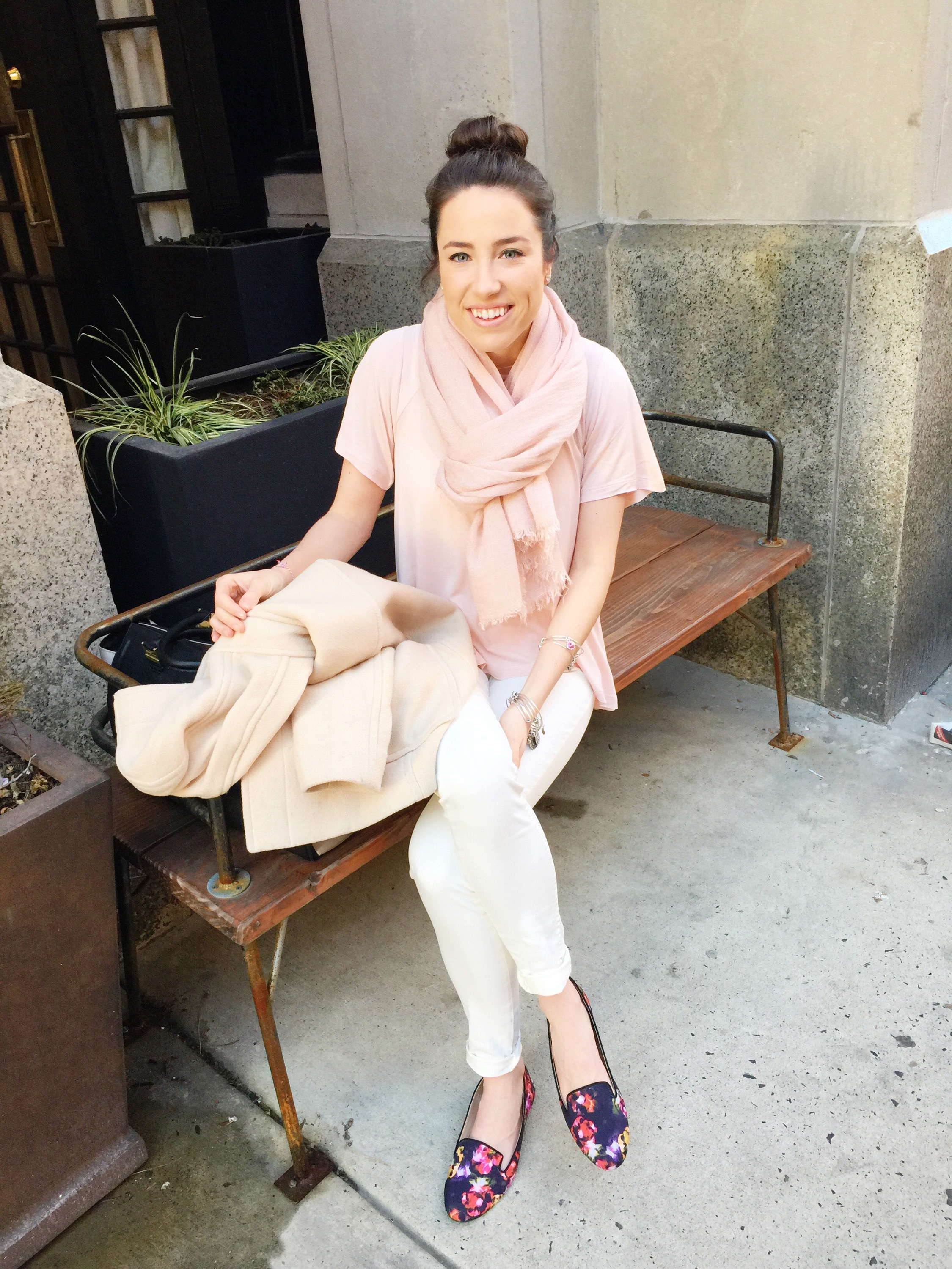 spring outfit inspiration | pastels and floral flats
