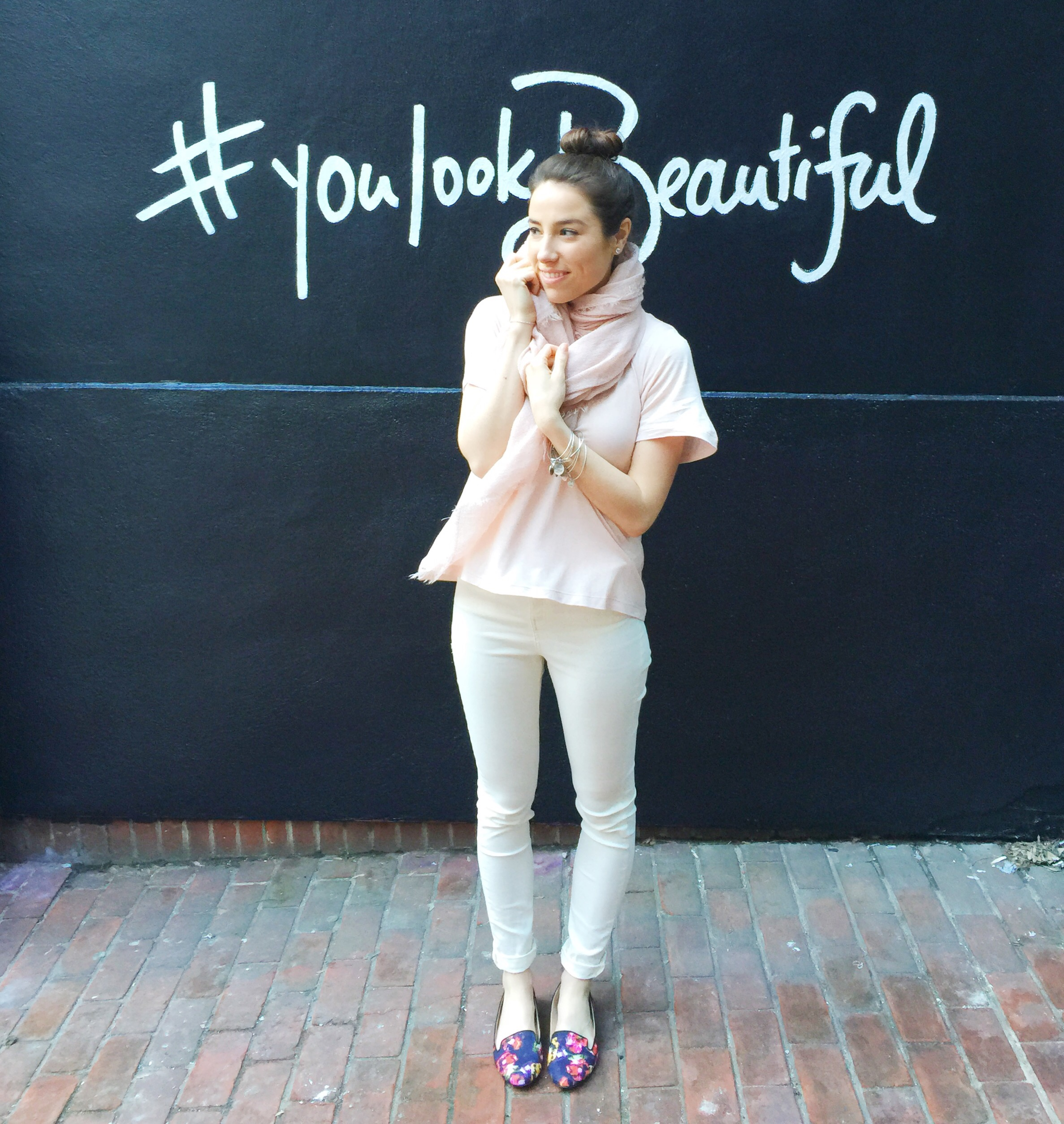 spring outfit inspiration   pastels and floral flats