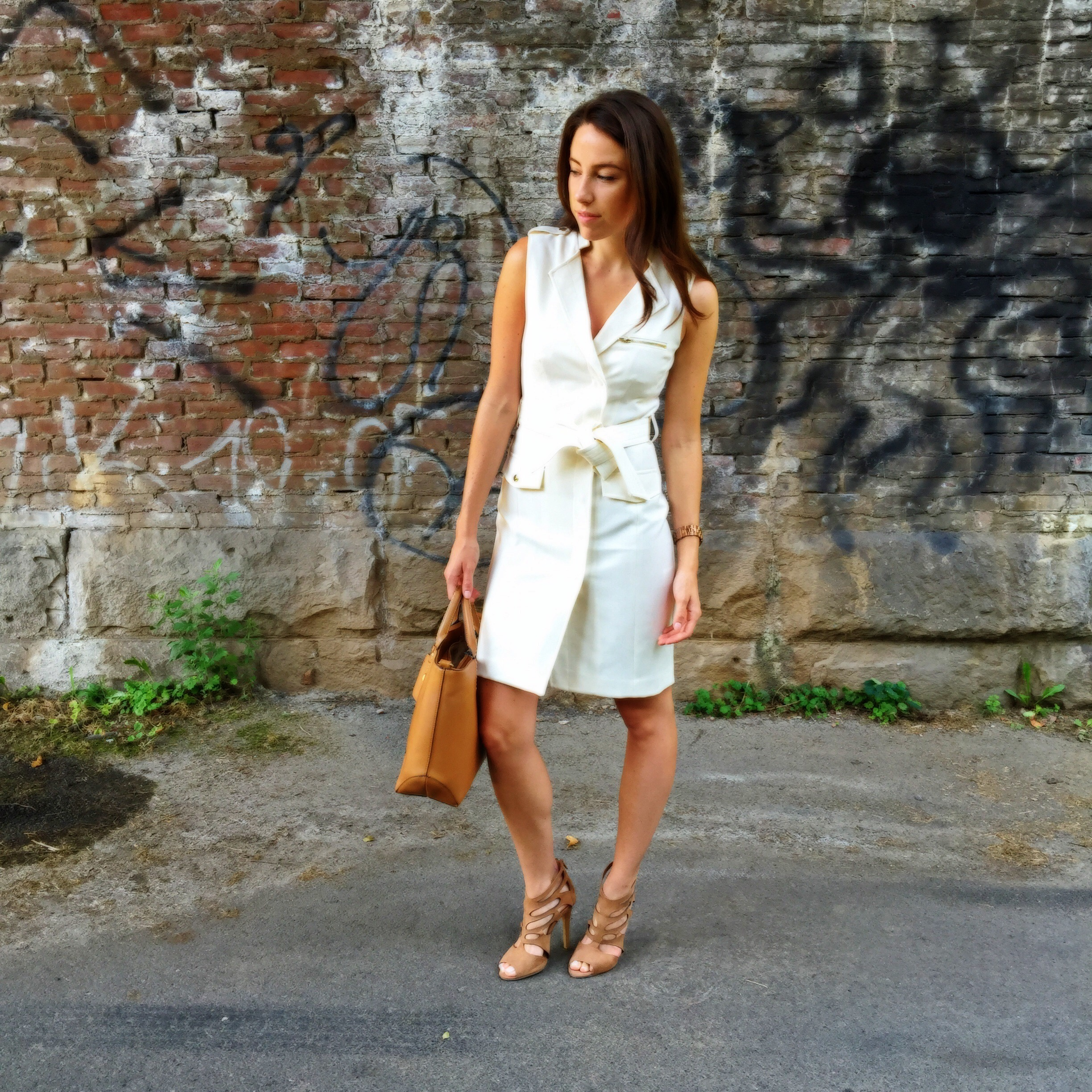white vest dress and nude heel sandals