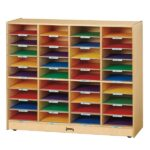 Student/tutor shelving to store material between lessons