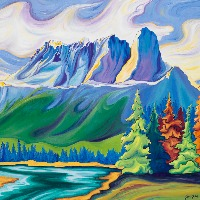 Castle Mountain Painting & Prints by https://thecreationguild.com/decorator-prints/