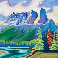 Castle Mountain Painting & Prints by https://thecreationguild.com/decorator-prints/