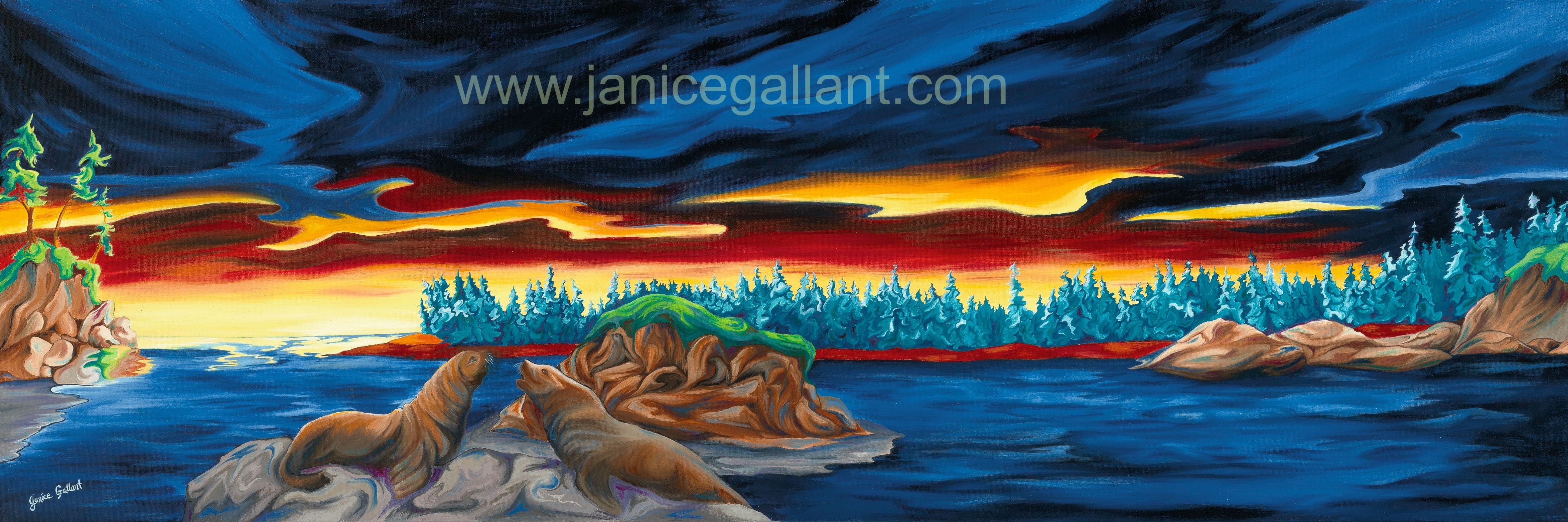Sun Salutations oil painting of west coast by Janice Gallant