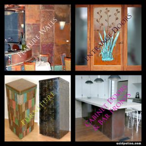 Bespoke copper walls, doors, furniture, bars and kitchens