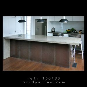 Kitchen island with copper finished with a decorative bronze patina