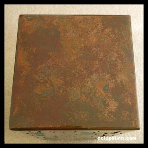 Copper table top with acid patina finish