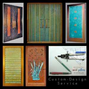 Patinated copper doors