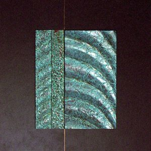 Copper sculpture with green patina