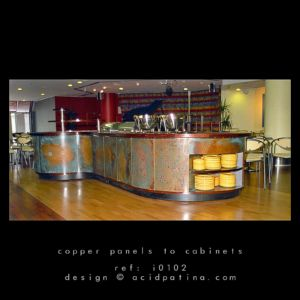Restaurant Cabinets With Copper Patina Fronts
