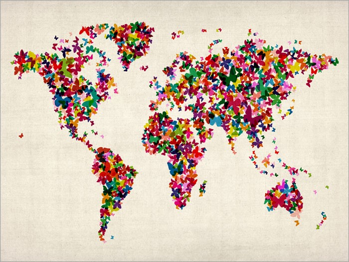 map of world in butterflies