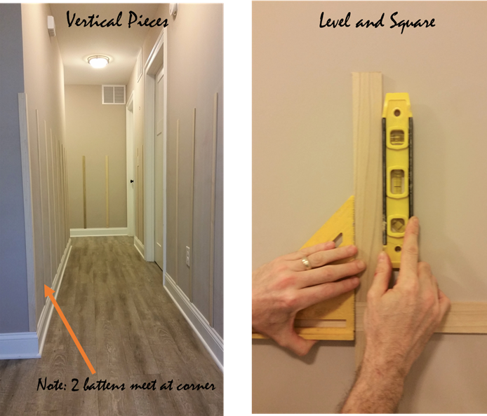 Use a level and triangle square to make sure board and batten is straight and level
